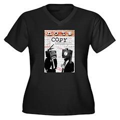 COPY Women's Plus Size V-Neck Dark T-Shirt