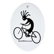 Kokopelli Mountain Biker Oval Ornament