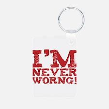 I am never worng. Um. Wrong. Aluminum Photo Keycha