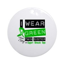 Green Ribbon Twin Sister Ornament (Round)