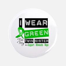 "Green Ribbon Twin Sister 3.5"" Button"