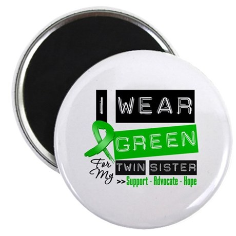 """Green Ribbon Twin Sister 2.25"""" Magnet (10 pack)"""
