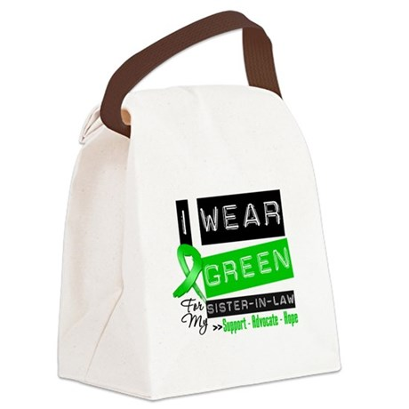 Green Ribbon Sister-in-Law Canvas Lunch Bag