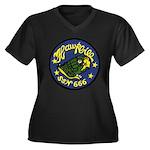USS HAWKBILL Women's Plus Size V-Neck Dark T-Shirt