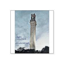"""Pilgrim Monument - Blue Square Sticker 3"""" x 3"""""""