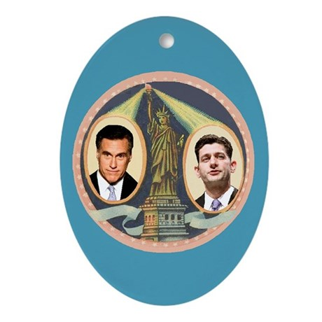 Romney Ryan Ornament (Oval)