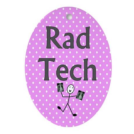 Rad tech tote bag pink polka.PNG Ornament (Oval)