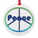 Blue / Green Peace Sign Round Ornament
