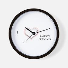 I heart Golden Retriever Wall Clock
