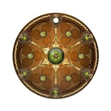 Celtic Shield - Green Chieftain Ornament (Round)