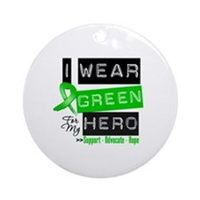 I Wear Green Ribbon For My Hero Ornament (Round)