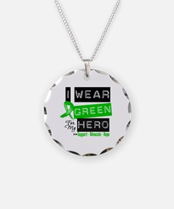 I Wear Green Ribbon For My Hero Necklace Circle Ch