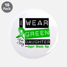"""Green Ribbon Daughter 3.5"""" Button (10 pack)"""