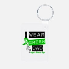 I Wear Green Ribbon For My Dad Keychains