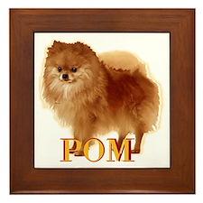 Pomeranian head dog art Framed Tile