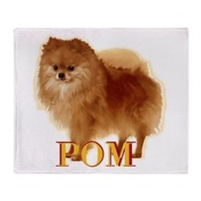 Pomeranian head dog art Throw Blanket
