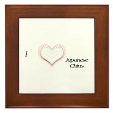 I heart Japanese Chins Framed Tile