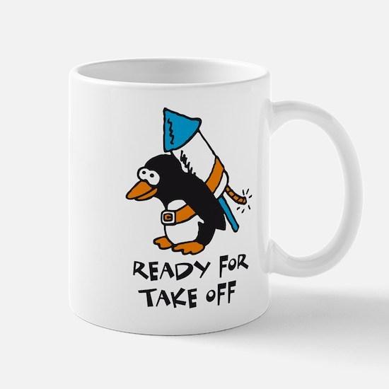 flying comic rocket penguin astronaut space Mug