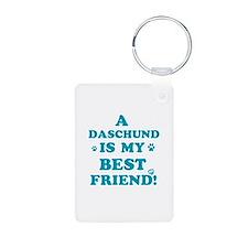 A Daschund is my best friend Keychains