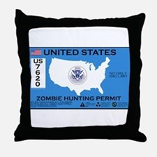 Zombie Hunting Permit Throw Pillow