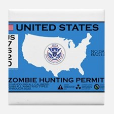 Zombie Hunting Permit Tile Coaster