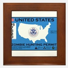 Zombie Hunting Permit Framed Tile