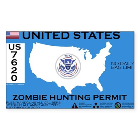 Zombie Hunting Permit Sticker (Rectangle)
