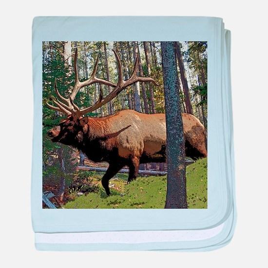 Bull elk in pines baby blanket