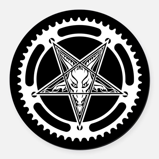 Pentagram Chainring Round Car Magnet