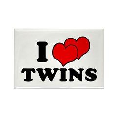 I Love Twins Rectangle Magnet