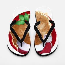 Pomeranian head dog art Flip Flops
