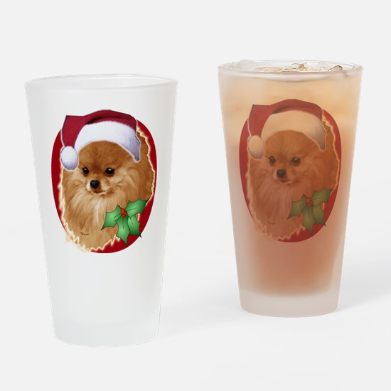 Pomeranian head dog art Drinking Glass