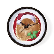 Pomeranian head dog art Wall Clock
