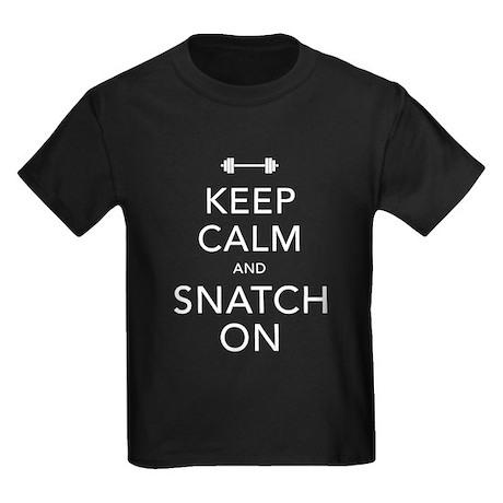 Keep Calm and Snatch On White Kids Dark T-Shirt
