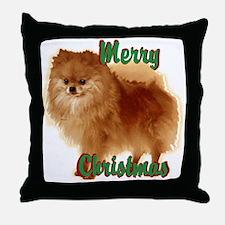 Pomeranian head dog art Throw Pillow