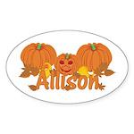 Halloween Pumpkin Allison Sticker (Oval)