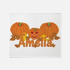 Halloween Pumpkin Amelia Throw Blanket