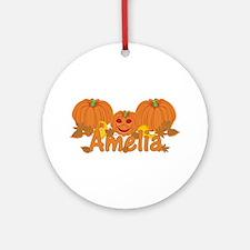 Halloween Pumpkin Amelia Ornament (Round)