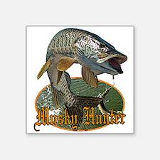 "Musky Hunter 9 Square Sticker 3"" x 3"""