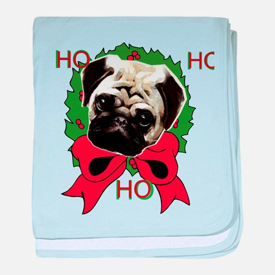 Christmas pug holiday baby blanket