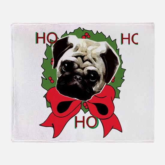 Christmas pug holiday Throw Blanket