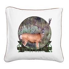 Trophy Hunter, mule deer Square Canvas Pillow