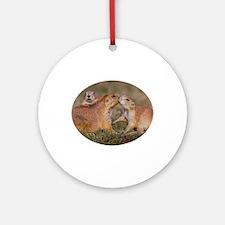 Prairie Dog Kiss Ornament (Round)
