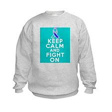 Thyroid Cancer Keep Calm Fight On Sweatshirt