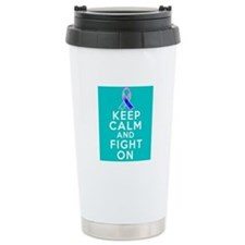 Thyroid Cancer Keep Calm Fight On Travel Mug