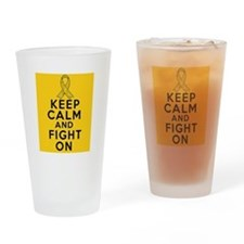Childhood Cancer Keep Calm Fight On Drinking Glass