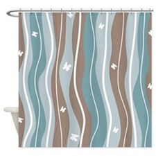 Waves and Butterflies Shower Curtain
