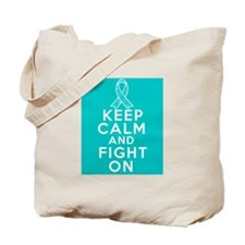 Gynecologic Cancer Keep Calm Fight On Tote Bag