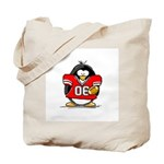Red Football Penguin Tote Bag