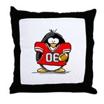 Red Football Penguin Throw Pillow
